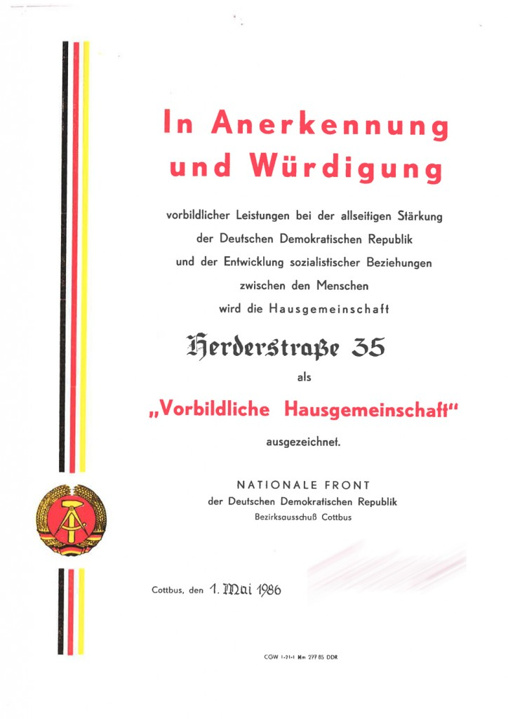 """Urkunde für """"Vorbildliche Hausgemeinschaft"""""""