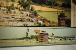 Foto und Modell des Grenzübergangs in Betrieb